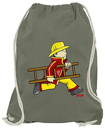 HARIZ Turnbeutel Feuerwehrmann Leiter Schnell Beruf Feuerwehr Inkl. Geschenk Karte Olive Grün One Size (Einfach Ein Kostüm Olive)