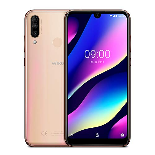 wiko view 3 italia smartphone, android 9 pie, display 6.26 inch, memoria ram 3 gb, memoria rom 64 gb, gradient blush gold