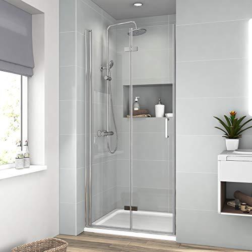 Duschtür Nische Falttür Rahmenlos Duschkabine Duschwand NANO Beschichtung Echtglas ESG Sicherheitsglas Duschtür 80 x 195 cm (Rufen Tech - Sie)