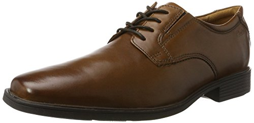Schuhe Casual (Clarks Tilden Plain, Herren Derby, Braun (Dark Tan Lea), 44 (9.5 UK))