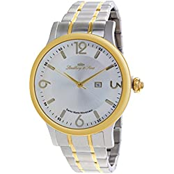 Lindberg & Sons - LSSM205B - wrist watch for men - white dial - stainless steel bracelet - quartz movement analog display - Swiss made