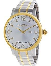 Lindberg & Sons LSSM205B - Reloj pulsera analógico para hombre de cuarzo (calibre Suizo), correa de acero inoxidable plateado