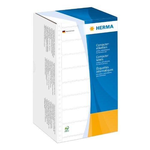 Herma 8293 Computeretiketten (perforiert Papier matt, 147,32 x 48,4 mm) 6000 Stück weiß