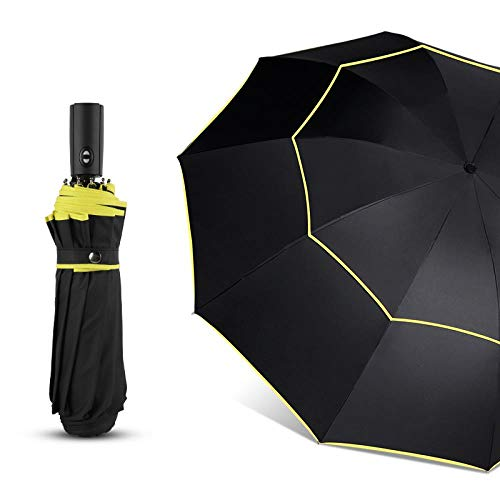 AJIAO Regenschirm 120 cm Automatische Doppel Großen Regenschirm Regen Frauen 3 Falten Wind Beständig Großen Regenschirm Männer Familie Reise Business Auto Regenschirme,schwarz