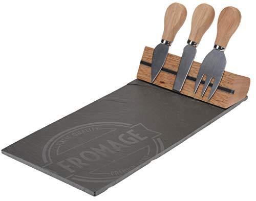 Tabla de Quesos y Cuchillos. Tabla de Pizarra y Set de Cuchillos para Queso de Acero Inoxidable con Mango de Madera.