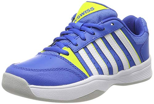 K-Swiss Performance Jungen Court Smash Carpet-STRNGBLU/NENCTRN/WT-M Tennisschuhe, Blau, 2.5 000070587, 35 EU (Schuhe Tennis Kinder Jungen)