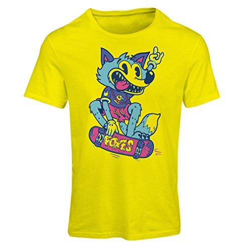 Frauen T-Shirt Skater Fuchs - Streetwear, Urban Bekleidung, Skateboard Bekleidung, Skate Ausrüstung (Small Gelb Mehrfarben)
