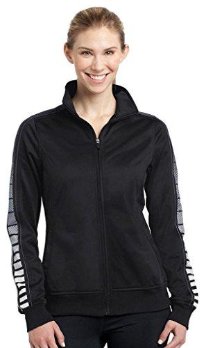 Sport Tek Veste de survêtement confortable en tricot pour femme Black/ Iron Grey