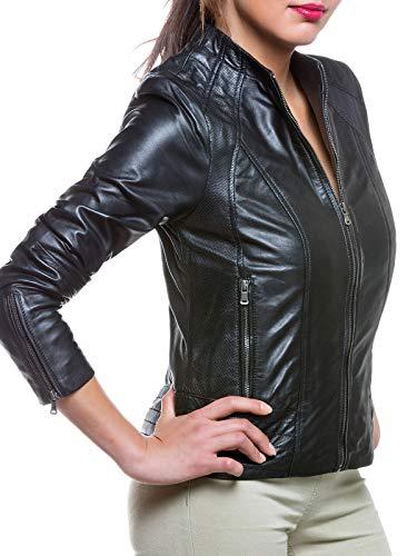Magnifica Hochwertige sportliche Damen Lederjacke Ambra in Schwarz aus Lammnappa Leder (42/XL)