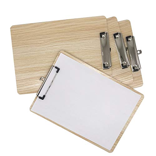 Pack of 4 A4 Quality Wooden clipboard Writing Board Heavy clamp Board with Hanging Hole White(4 Pieces)