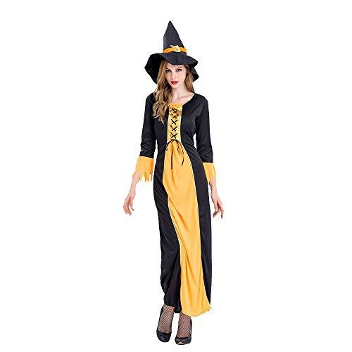 MMOOVV Frauen Halloween Party Requisiten Cosplay Hexenkleid Erwachsene Halloween Kostüm + Hut M