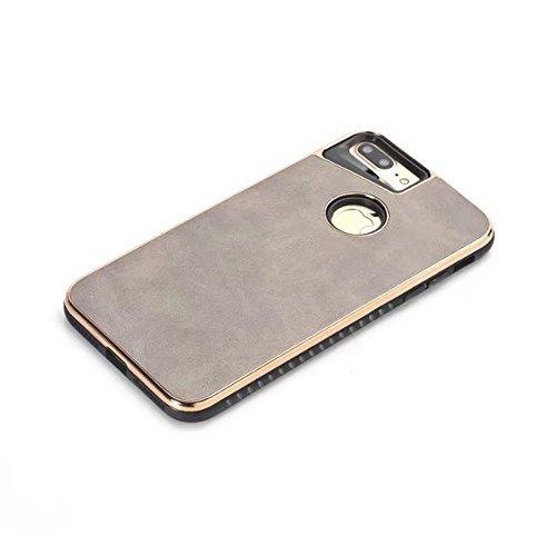 EKINHUI Case Cover Dual Layer PC + TPU Eletroplating PC Retro Crazy Pferd Leder Skin Shell Cover Case für iPhone 7 Plus und 8 Plus ( Color : Yellow ) Gray