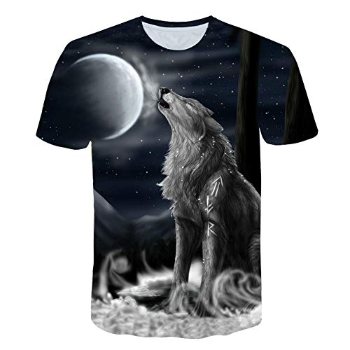 XIAOBAOZITXU T-Shirt Große Mode Männer Und Frauen Unisex-Kostüm Wolf Slim Fit Cooles Lustiges Sommersport-T-Shirt XXXL