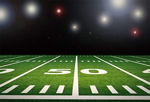 GzHQ 7x5FT Vinyl-Hintergrund American Football-Feld Fotografie Hintergrund Leere Stadionszene Glänzend Beleuchtung Spiel Rasen 50 Yard Line Weiße Linien Hintergrund für Fotoshooting-Porträts