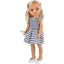 Nancy - Un día con Amigas, muñeca rubia con vestido azul y blanco (Famosa 700013444)
