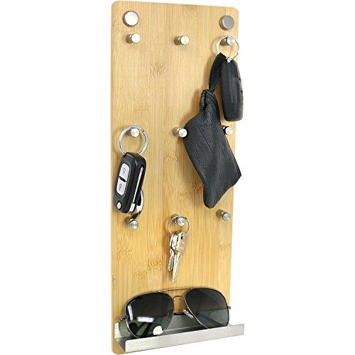 com-four® Bande de Touches en Bambou et Acier Inoxydable avec 9 Crochets à clés et étagère, 40 x 15 x 5 cm (01 pièce - Bambou)