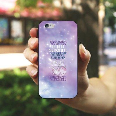 Apple iPhone 6 Plus Silikon Hülle Case Schutzhülle Einhorn Unicorn Sprüche Silikon Case schwarz / weiß