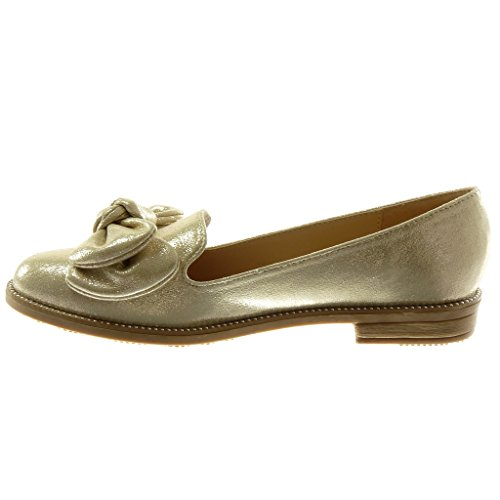 Angkorly Chaussure Mode Mocassin Slip-On Femme Noeud Papillon Clouté Brillant Talon Bloc 2.5 cm Or