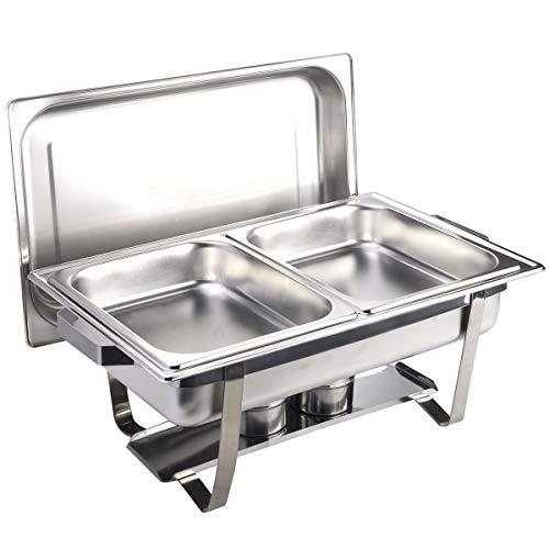 Gastro-Bedarf-Gutheil Chafing Dish Speisenwärmer bestehend aus: 1 Gestell mit Deckelhalterung, 1 Wasserbecken 2 Speisebehälter GN Behälter 2 x 1/2 - Tiefe 65 mm Chafing Dish Set