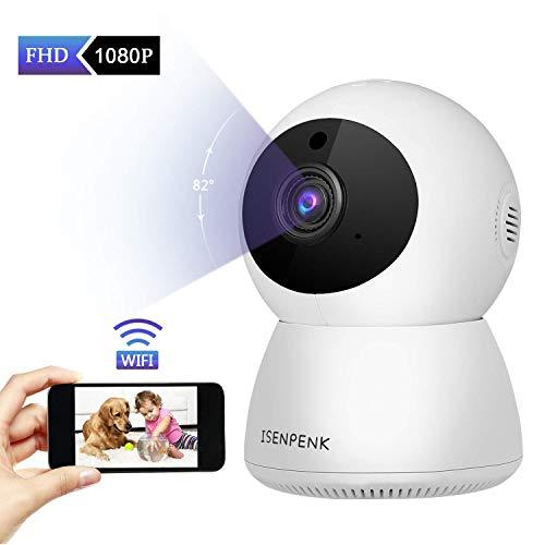 ISENPENK 1080P - Telecamera IP WLAN con sensore di movimento, audio a due vie, visione notturna, monitor di sorveglianza domestica per neonati/animali domestici/anziani