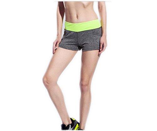 ACME- Mini Shorts de sport yoga musculation coupe ajustée confortable pour les femmes filles Gris et Jaune