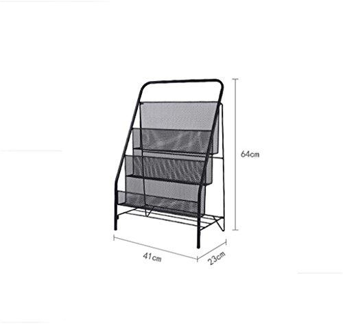 Lh-scaffalature portariviste pieghevole in ferro metallico | libreria semplice | banco da esposizione per ufficio (colore : nero, dimensioni : 41 * 23 * 64cm (3 tiers))