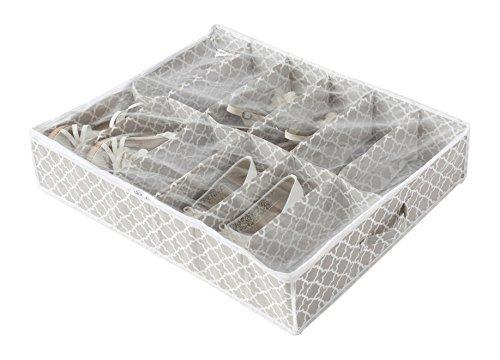 Compactor Taupe Home Zapatos Bolsa de Almacenamiento, Microfibra, Pardo y Blanco, 76 x 60 x 15 cm, Non-Woven 75G | Printing by Machine, Topo, No No Applicable