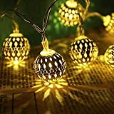PESCA Moroccan 16 LED String Lights Plug-in Metal Ball, Connectable with Tail for All Occasions-Christmas, Diwali…