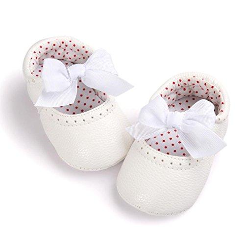Saingace® Bébé fille bowknot douce chaussures leater espadrille anti-dérapant toddlerr semelle souple ,0-18mois (12.5cm, Rose) Blanc
