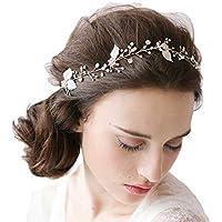 JaneDream - Diadema para boda en forma de hojas, con perlas brillantes