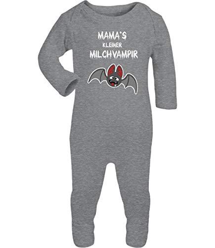 Shirtgeil Halloween Baby Kostüm Body Mamas Milchvampir Baby Strampler Strampelanzug 6-12 Monate (74/80) Grau