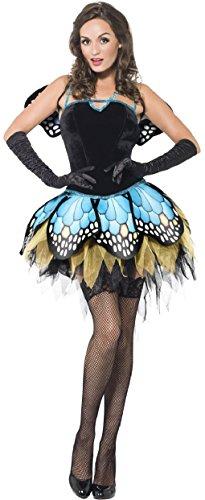 Damen Halloween Boutique Schmetterling Fee Nymphe Pixie Kostüm Kleid Outfit & Wings 8-18 - Schwarz, (Kostüme Nymphe Halloween)