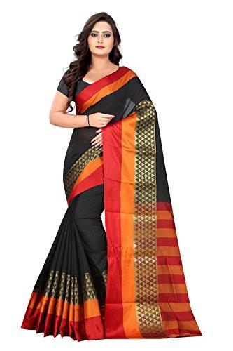 BLF Women's Cotton Silk Jacquard Work Black Color Saree With Fancy Blouse...