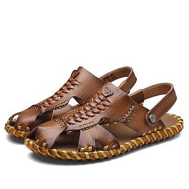Sandálias De Sapatos Masculinos De Couro Artesanais Confortável Nappa Verão Ao Ar Livre Ocasional Calcanhar Plana Marrom Caqui