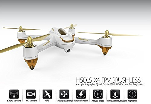 Hubsan H501S X4 Brushless FPV GPS Quadrocopter 5.8 Ghz Drohne mit 1080P Full HD Kamera und Follow-Me Modus RTH-Funktion Weiß&Gold - 2