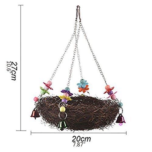 baleba Natur Rattan Nest Bird Swing Spielzeug mit Glöckchen für Parrot Wellensittiche Sittiche Nymphensittiche Sittiche Unzertrennliche Finch Kakadu Ara African Greys Käfig Sitzstange Ständer (Sittich Käfig Auf Ständer)
