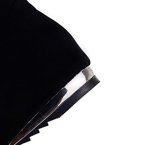 AllhqFashion Damen Rund Zehe Niedriger Absatz Mattglasbirne Niedrig-Spitze Eingelegt Stiefel Schwarz