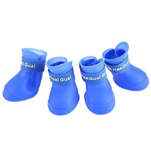 4pcs Zapatos de lluvia de Perros, Botas Botines para lluvia Polvo Zapatillas Antideslizante Impermeables Accesorios Duradero Portátil Diseño de la Cinta Mágica para Perro Gato Mascotas de Paseo,Azul-M