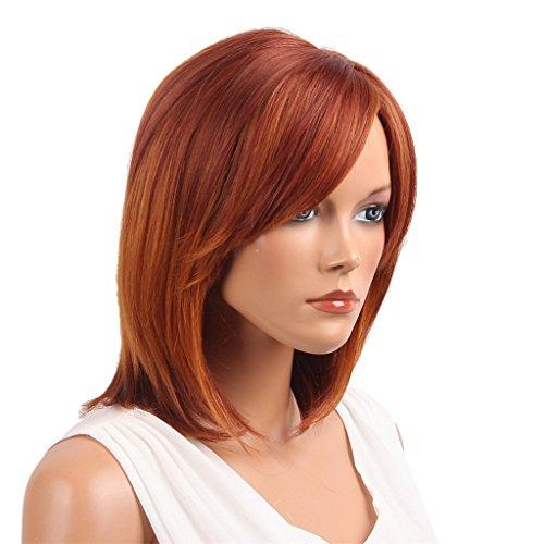 Baoblaze Echthaar Perücke Menschliches Haar Kurze Volle Perücke natürlich Gerade Perücke Haarteile. schöne Rot Farbe