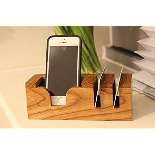 Amwares iphone 7 Samsung Phone holder cradle Wooden Beech Accessory Desk Organiser Card holder