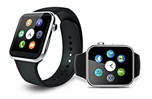Mobilefit A9 Bluetooth Smart Watch Phone (Black) with SIM Card Support||Sleep Monitoring||Sedentary Reminder SIM Card & TF Slot||Functions like Facebook+ Whats App+ WeChat+ Twitter+Pedometer+Better Display+Loud Speaker+Touch Screen. Compatible for QiKU Terra 810