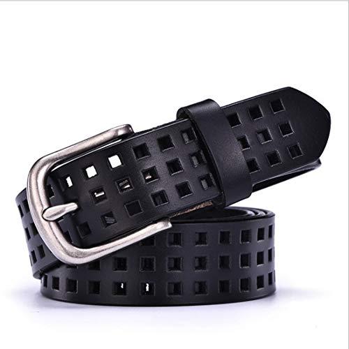 Custom Gürtel-schnalle (Ying xinguang Gürtel Bekleidung Gürtel für Frauen Custom Fit Schnalle Taille Gürtel Frau Lady Leder Rindsledergürtel (Farbe : Schwarz, Size : 115cm))