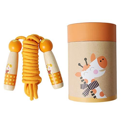 PUPOUSE Springseil für Kinder - Springseil Verstellbare mit Cartoon Holzgriff und Baumwollseil, ideal für Fitness Training abnehmen Fat Burning Übungen (Orange) (Kinder Springseile Für)