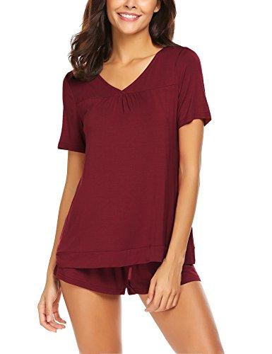Skine Schlafanzüge Damen Sommer Modal Solid Nachtwäsche Kurz Set Soft V-Ausschnitt Sleepwear Kurzarm Top mit Shorts Pyjama Set - 2 Stück Kurzarm-pyjama