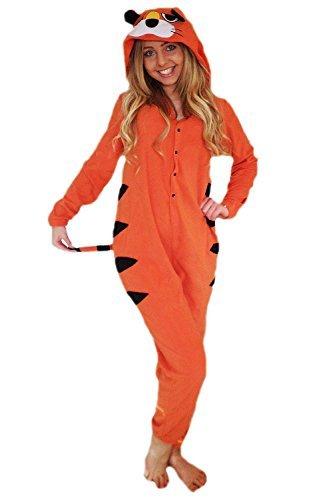 NEU Damen Tiger Einteiler mit Tierisch Ohren schwanz. Alles in eins Schlafanzug Damen Hausanzug - Tiger, XS