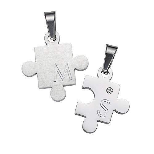 Gravado 2er Set Halsketten aus Edelstahl mit Strass Stein und Puzzle-Anhängern, Personalisiert mit Initialen, Karabinerverschluss, Länge 50 cm
