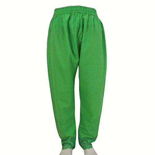 Lose Weite Hose elastische Hose Frauen Crochet Bottom Haremshosen Pyjamas Grün