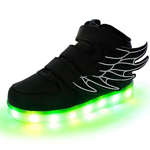 Lovelysi unisex bambini/ragazzi/ragazze scarpe sneakers led lampeggiante, con le ali,usb ricaricabile,7 colori colorati regalo natale halloween