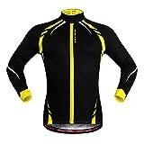 SYSI Herren Winddichte Regenjacke Radfahren Laufen langärmelig Jacke (Schwarz mit Gelb, M)