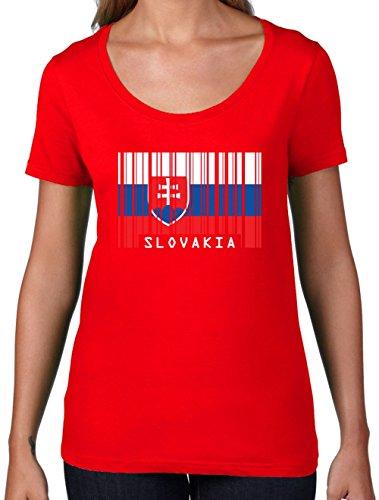 Slowakei Flagge T-shirt (Slovakia / Slowakei Barcode Flagge - Damen T-Shirt mit Rundhalsausschnitt- Rot - XL)